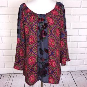 FIG AND FLOWER l Anthropologie Peasant Blouse BOHO